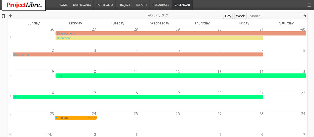 ProjectLibre Cloud Calendar