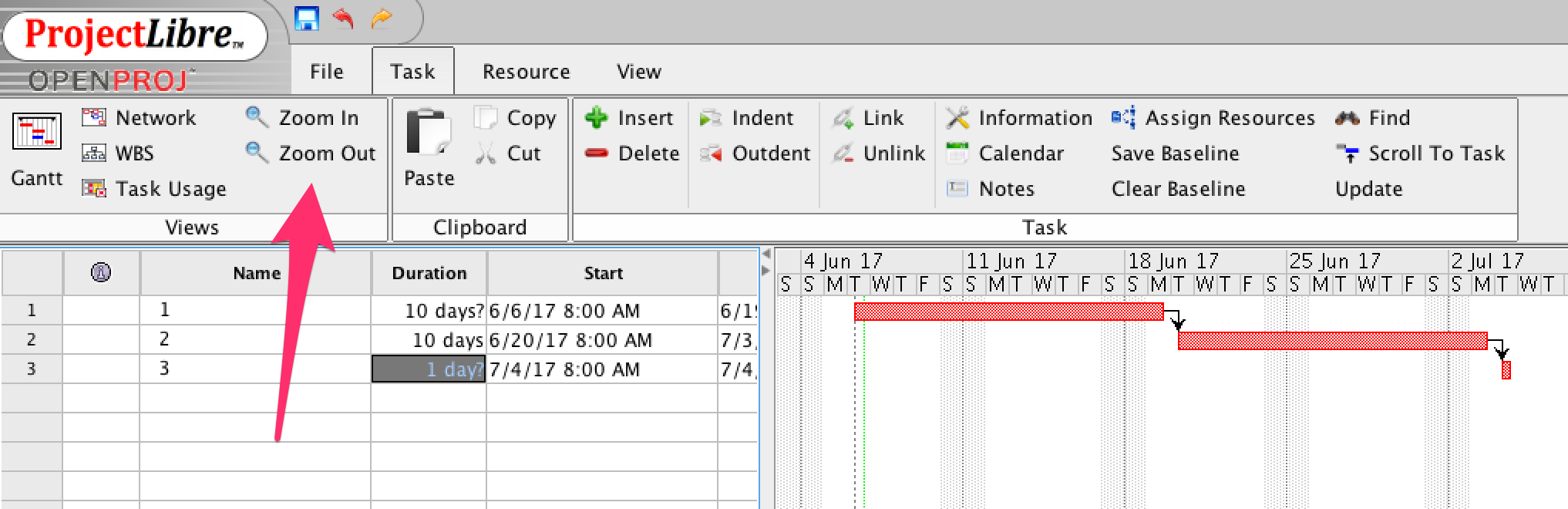 Gantt Time Scale Projectlibre